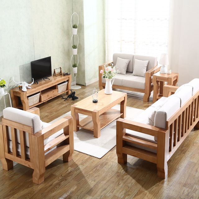 Low Price New L Shaped China Latest Wooden Sofa Set Designs