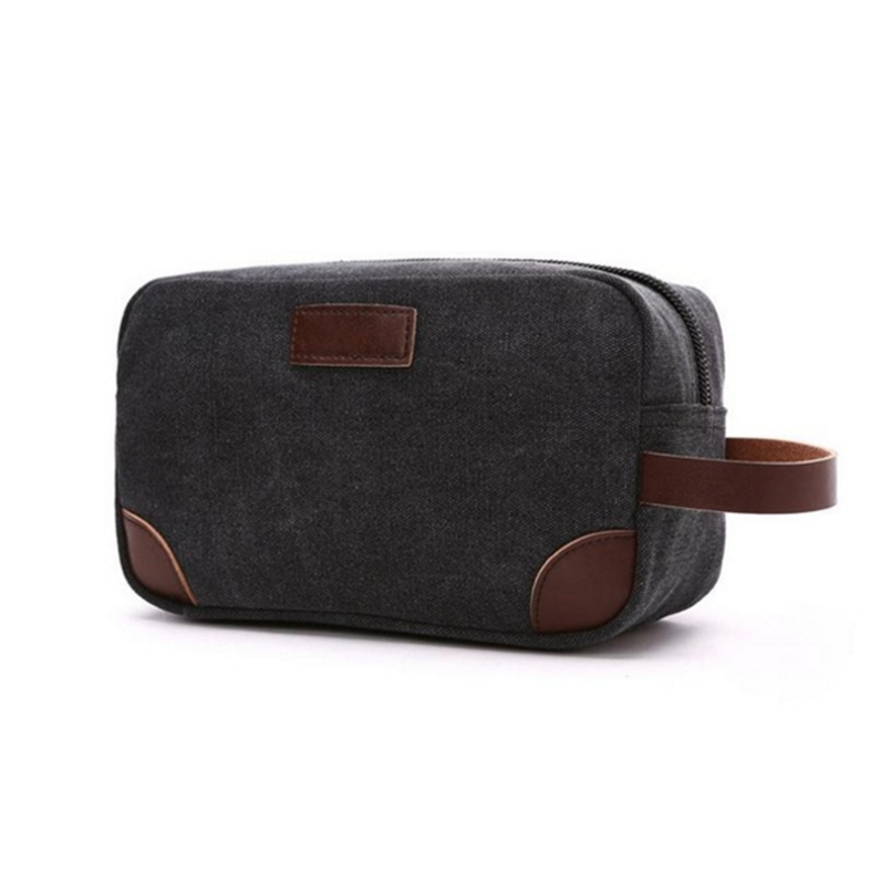 Leinwand PU Gepatcht Travel Kultur Organizer Rasieren Dopp Kit Männer Make-Up Tasche