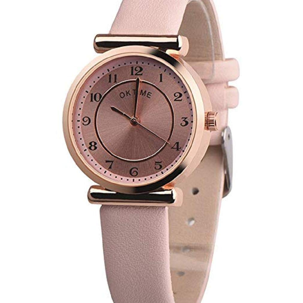 Womens Quartz Watches,Windoson Clearance Analog Ladies Wrist Watches Girl Watches PU Leather Female Watches New (Pink)
