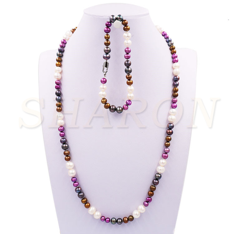 Wholesale Mixed Colors Cultured Natural Fresh Water Pearls Necklace Bracelet Kit