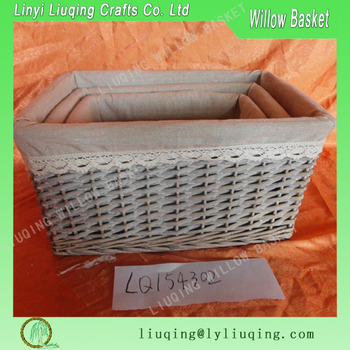 Shabby Chic Grey Wicker Large Rectangular Basket Trays Deep With Liner
