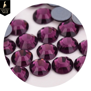 Rhinestone manufacturer 30ss amethyst purple flatback glass crystal strass hot fix for gymnastics clothing decoration