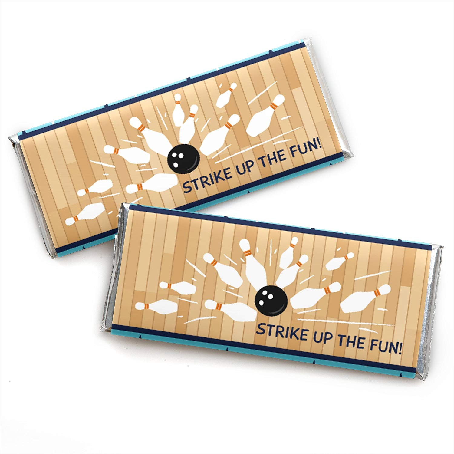 Strike up The Fun - Bowling - Candy Bar Wrapper Baby Shower Or Birthday Party Favors - Set of 24