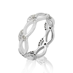 Diamond Studded Couple Man And Woman Gemstone 925 Sterling Silver Ring
