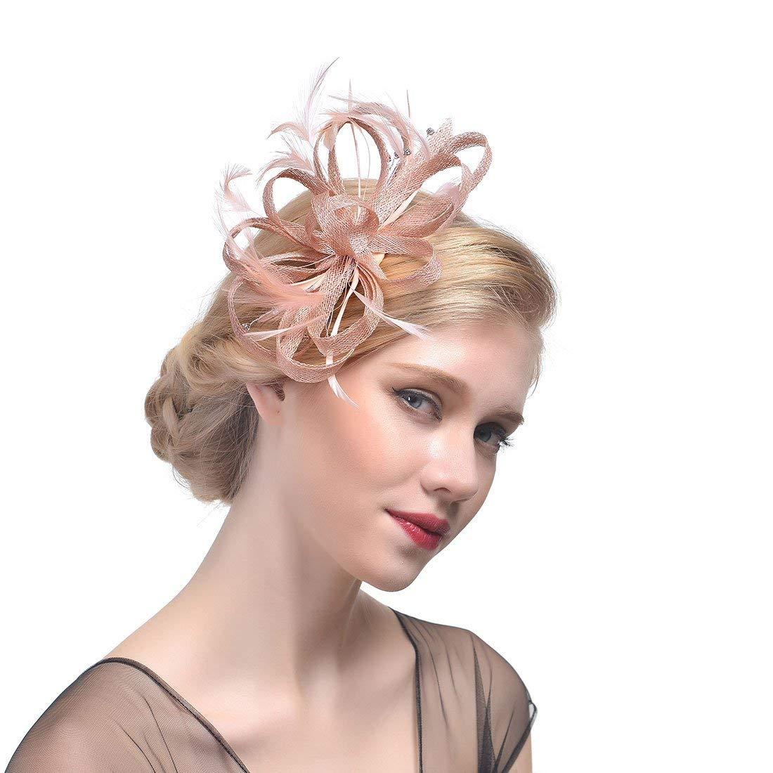 3067d6d568f05 Get Quotations · Canvalite Hat Sinamay Vintage Kentucky Derby Hat Women  Fascinator Headdress