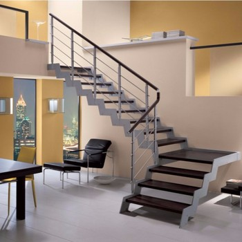 Modern L Shape Stair With Stainless Steel Railing Design Buy Modern L Shape Stair Interior Wood Stairs L Type Stairs Product On Alibaba Com