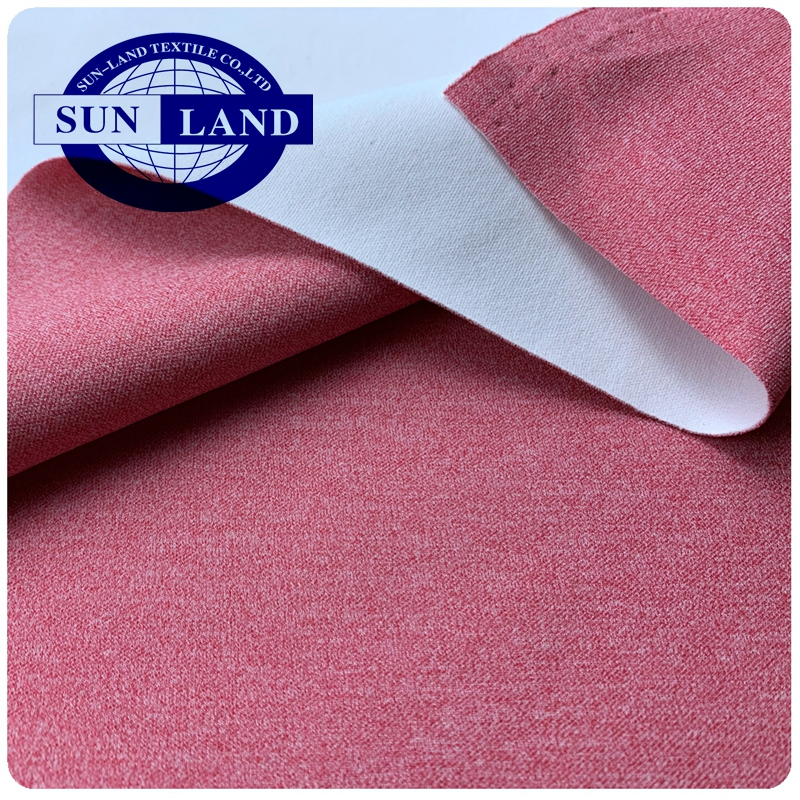 Melange polyester lycra interlock double AIR layer sandwich scuba weft knit fabric