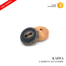 KAIDA flat back laser logo black wooden button factory