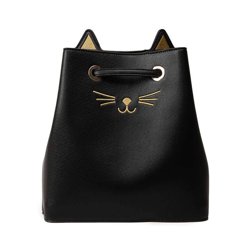 Fashion Women Large Capacity PU Shoulder Bag Cute Cat Pattern Handbag Messenger Crossbody Tote Bucket Bag Black/Silver