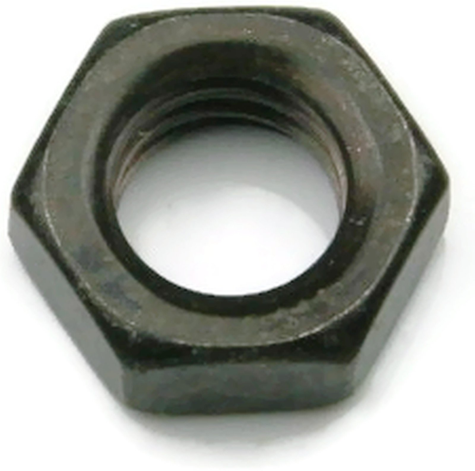 18-8 Stainless Steel Black Oxide Hex Jam Nuts - 3/8-16 (9/16 Flats x 7/32 Thick) - Qty 25