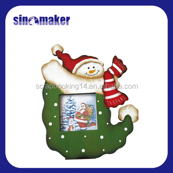 Cute snowman design Christmas wooden photo frame 2016 new