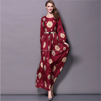 New Arrival 2016 Autumn Ladies O Neck Long Sleeves Vintage Printed Elegant Maxi Long Runway Dreses with Plus Sizes