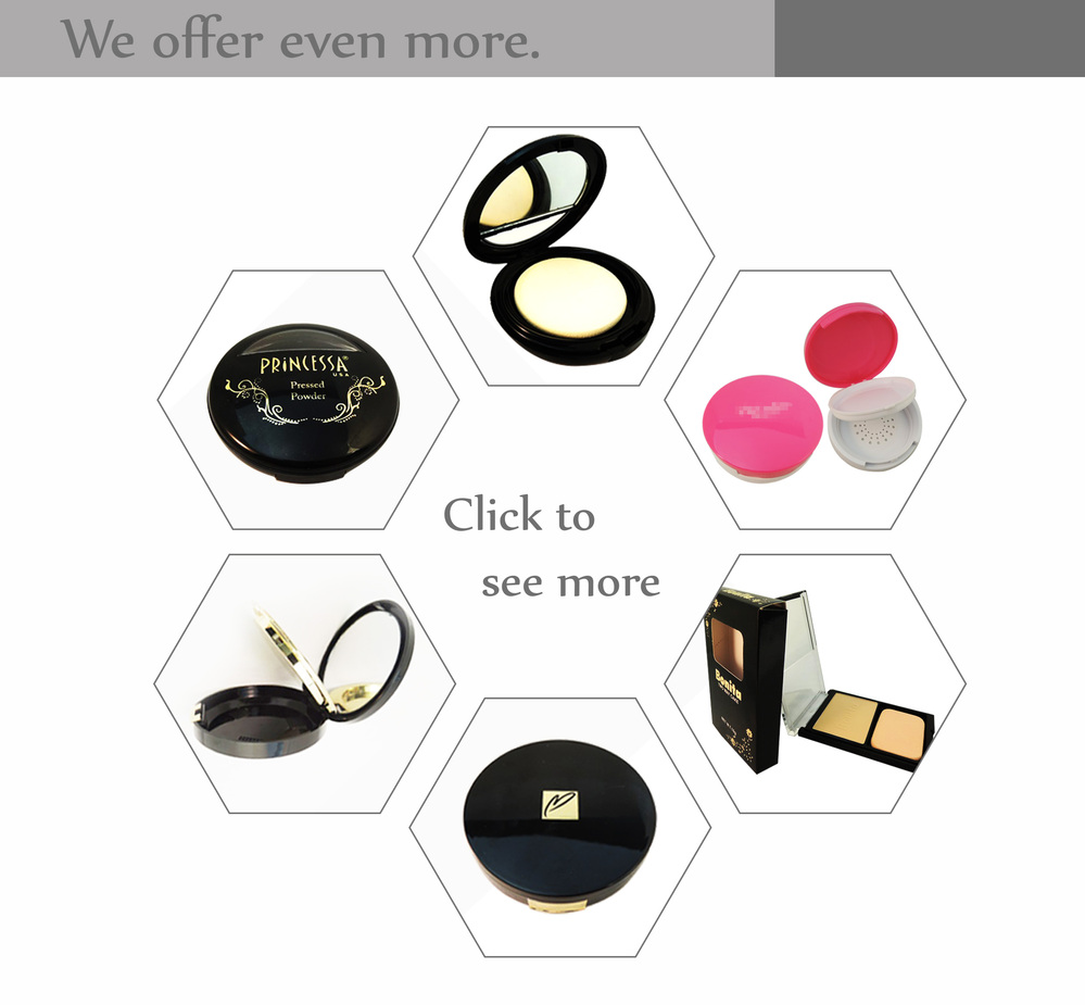High performances black screw cap lid  makeup cosmetic set white case compact case round
