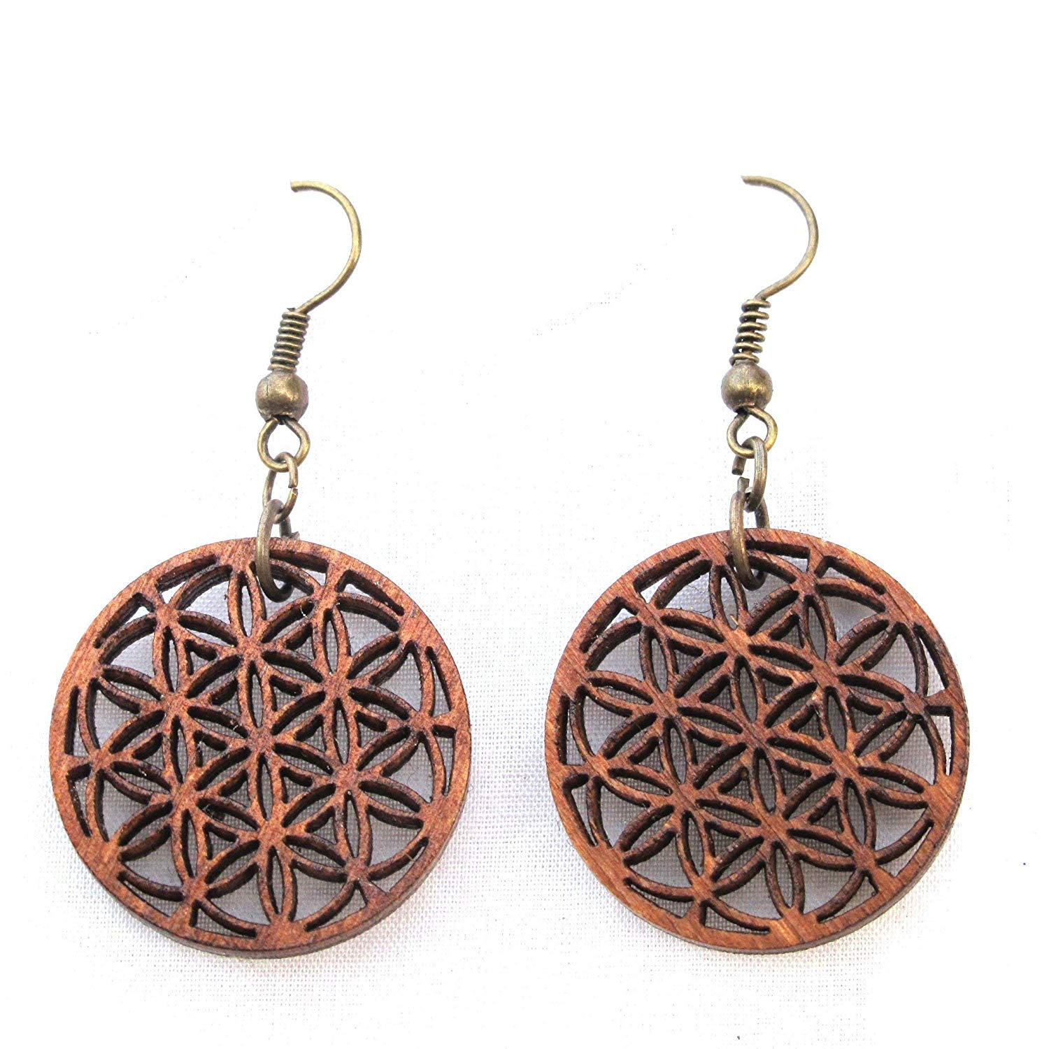 "Wooden Earrings ""Flower of Life"", Sacred Geometry Yoga Jewelry, modern psychedelic jewelry"