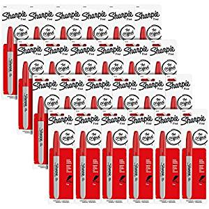 (Ship from USA) Sharpie Permanent Markers, Fine Point, Red Ink, Pack of 144 (30102)
