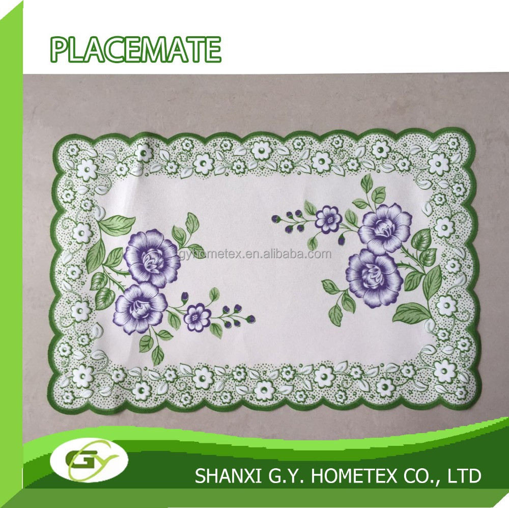 purple 100% polyester custom puff special NEW printed placemat for table decoration
