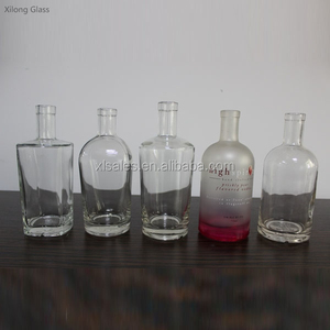 CUSTOMIZE SHAPE 500ML 700ML CLEAR SPIRITS GLASS BOTTLE FOR SALE