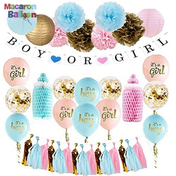 Gender Reveal Party Supplies Include Paper Pompoms Tassels Balloons and Banner - Boy or Girl Gender Reveal Party Decor KK218