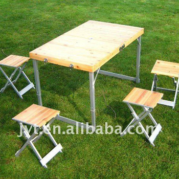 Outdoor wooden folding table and chairs
