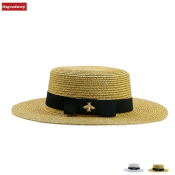 7d8a349a986af Osgoodway senhora chapéu chapéus chapéus de palha das mulheres bowknot  rodada top plana brim palha sunhat