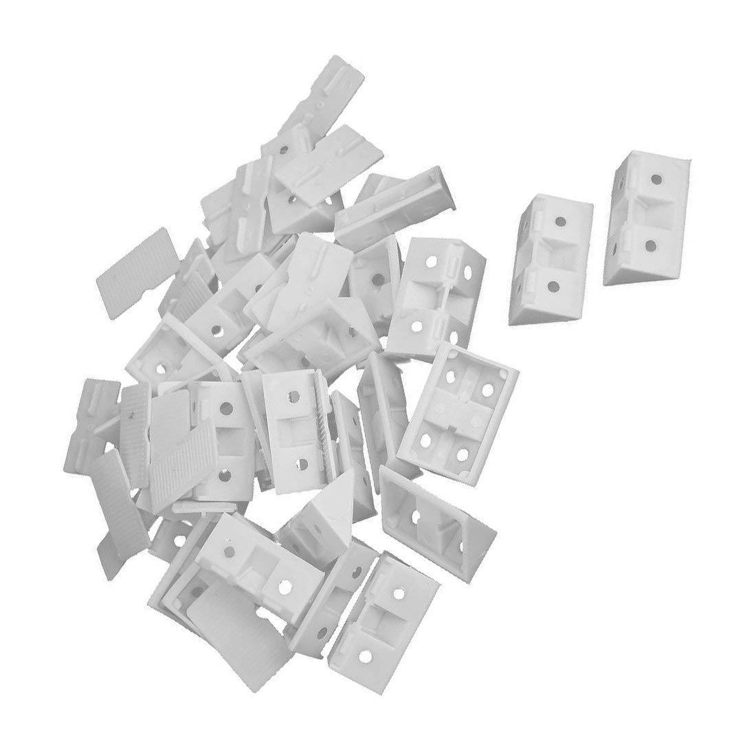 Axiwen 30pcs Shelf Cabinet 90 Degree Plastic Corner Braces Angle Brackets White