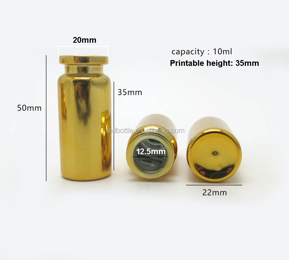 New fashion product 10ml gold color glass vial for steroids with aluminum cap