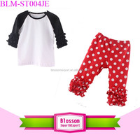 New arrival boutique cotton black/white icing raglan top matching ruffle pant baby clothes ruffle polka dot baby outfit set