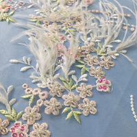 Bead pearl fashion mesh tulle embroidery floral feather luxury fabrics sequins lace fabric with beads for wedding dress