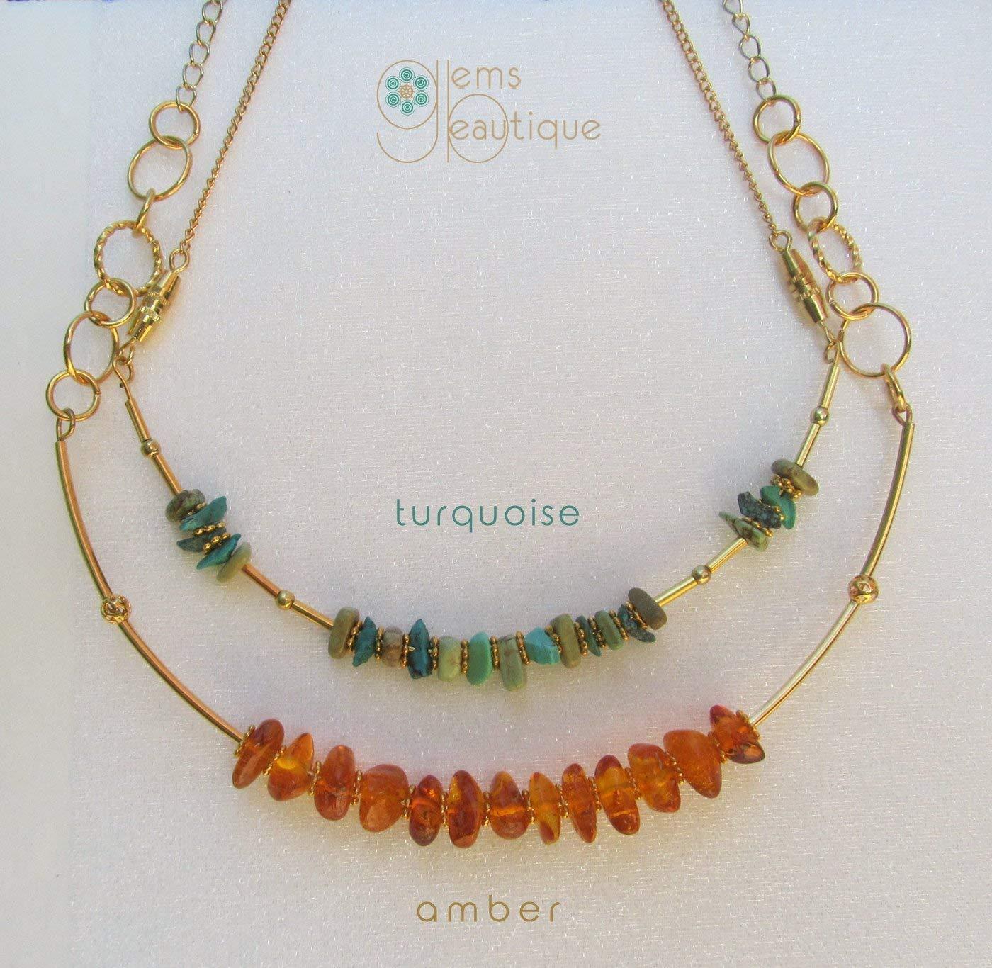 "GemsBeautique Aquarelle Gold Beaded 18"" Choker Necklace. Baltic Amber Sunshine. Genuine Gemstone. Elegant GIFT."