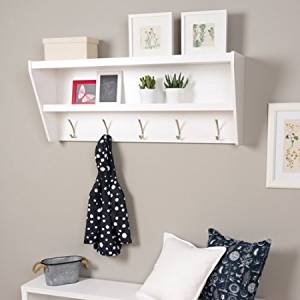 Prepac Floating Entryway Shelf and Coat Rack, BUCW-0500-1, White