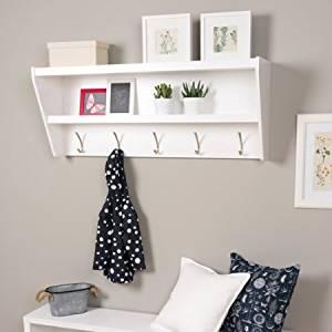 Prepac Floating Entryway Shelf and Coat Rack, BUCW-0500-1, White