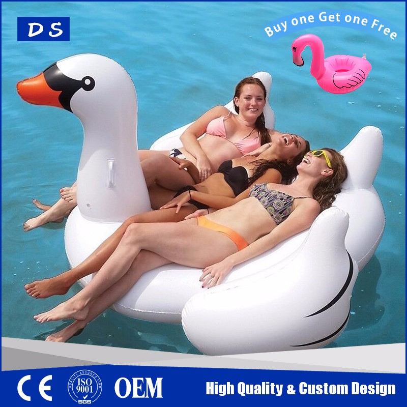 2017 new product promo inflatable swan float plastic toy swan add to send flamingo drink holder