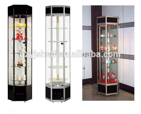 Free Standing Glass Display Showcase / Rotating Glass