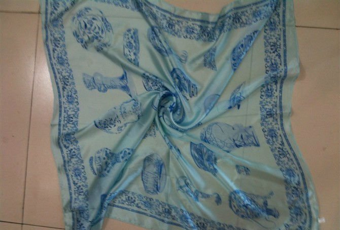 stock printed silk satin Scarf square sik scarves small moq