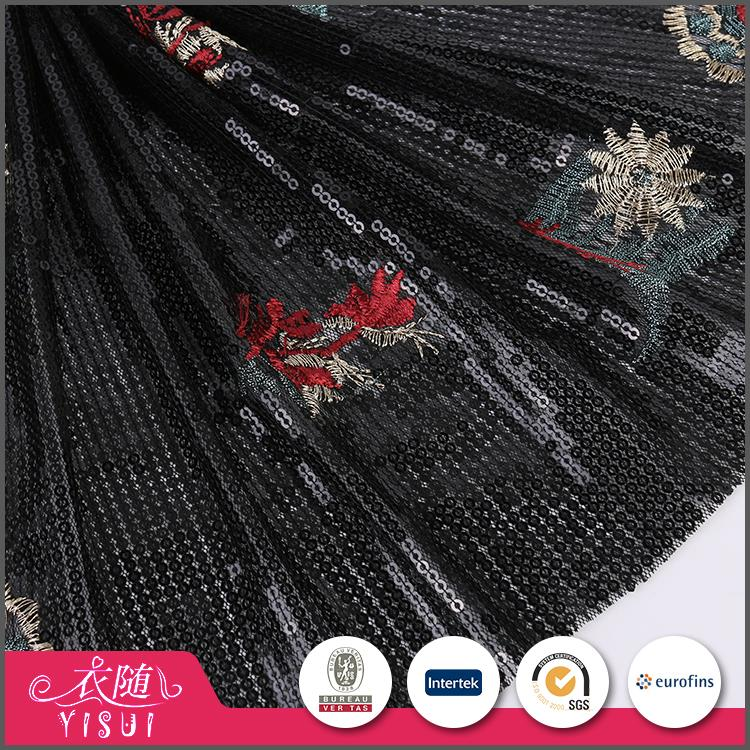 Manufacturer factory custom made soft multi color sequin fabric for tablecloth