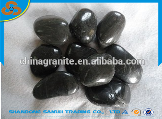 garden decoration polished black river pebble stone