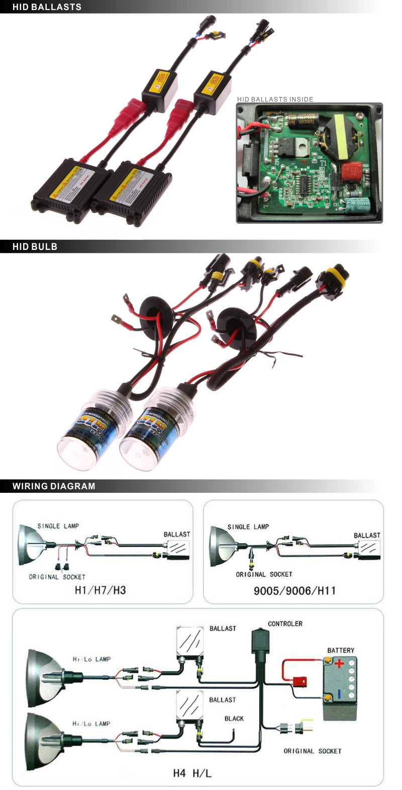 Universal Car Accessories High Lumen Hid Xenon Kit 12v 24v 35w 55w Flash Tube Circuit By Tubes 75w