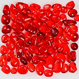 My Fireplace Glass - 22 Pound Pebble Fireplace Glass - 1/4-3/8 Inch Size 2, Strawberry Colored