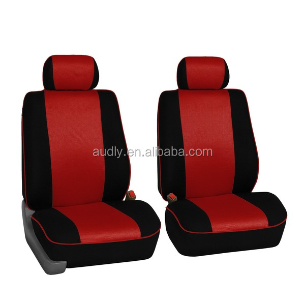 HY-L3013 Universal Fit Protective Edge Piping Car Seat Covers Full Set Red Black