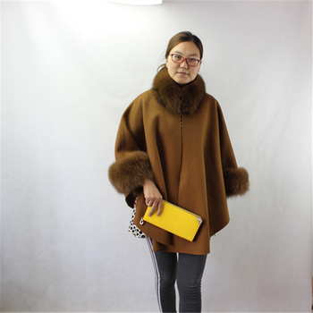 6a911eae3 Real Cashmere wool poncho double face woolen cape with real fox fur collar
