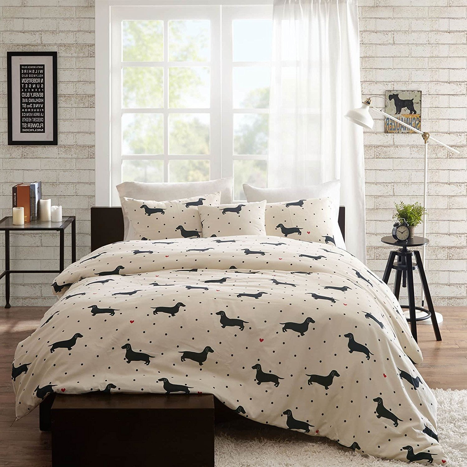4 Piece Trendy Black Red White Full Queen Duvet Cover Set, Animal Themed Bedding Dog Modern Shabby Fun Daschund Chic Puppy Cute Adorable Contemporary Casual Polka Dot Stylish, Cotton