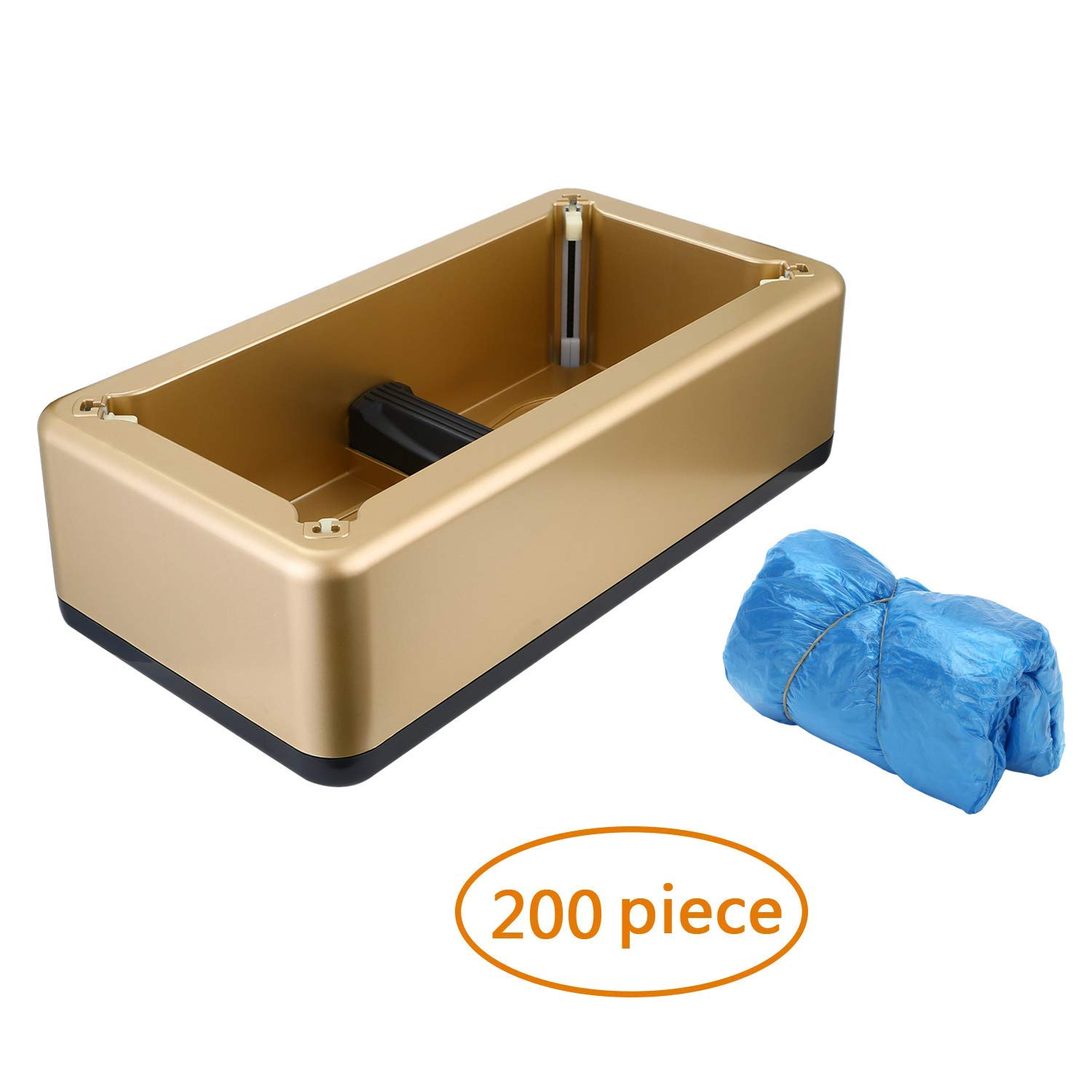 RONRI Automatic Shoe Cover Dispenser With 200 PC Disposable Plastic Shoe Cover, Waterproof Resuable Hands Free Slipcover for Medical, Home, Shop and Office GOLD