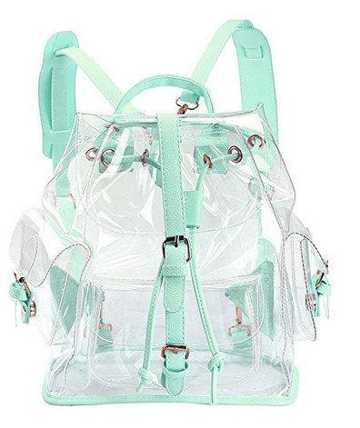 Fashionable travel waterproof pvc plastic shopping clear bag transparent backpacks for teen girls