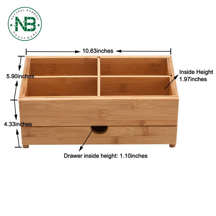 Bambu Kotak Penyimpanan Desktop Organizer Kosmetik Kayu Mini Meja