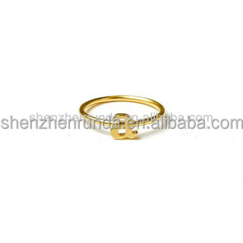 Wholesale Women Rings Gold Plated Letter A Initial Ring Simple