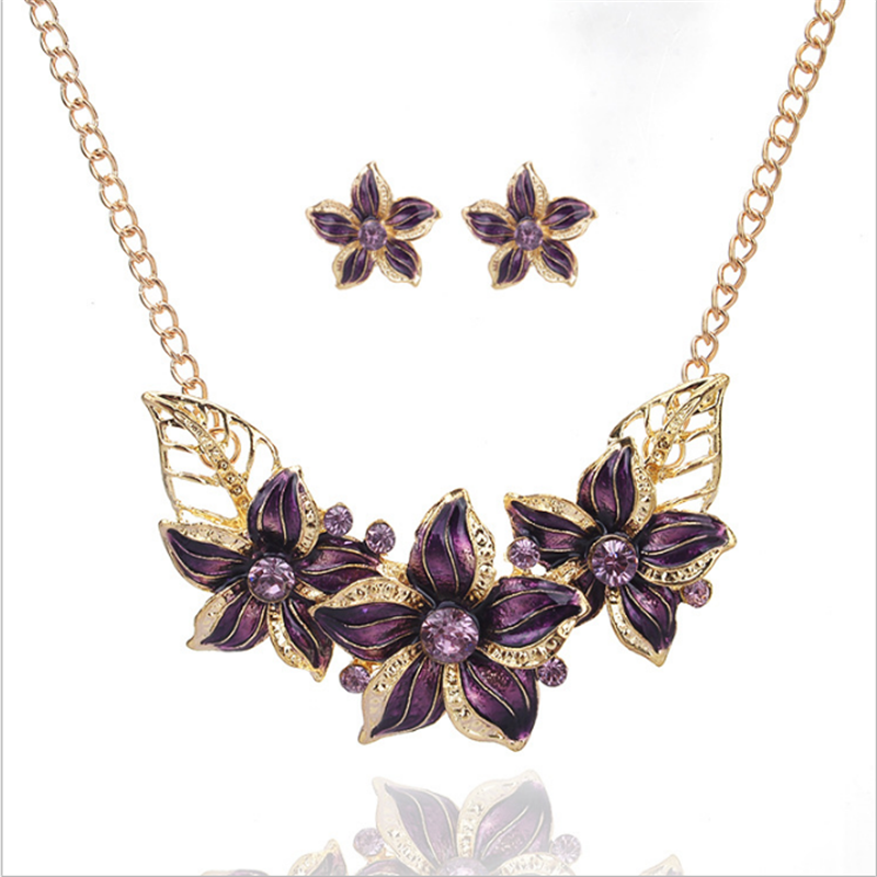 Factory direct european fashion flower charm necklace and earring set cheap bridal jewelry set