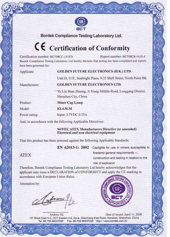 kl4.5lm cordless miners lamp atex certification