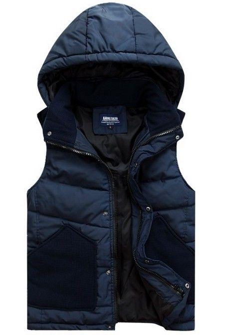 Men's Winter Down Vest Hooded Down Jacket Sleeveless Jacket ...