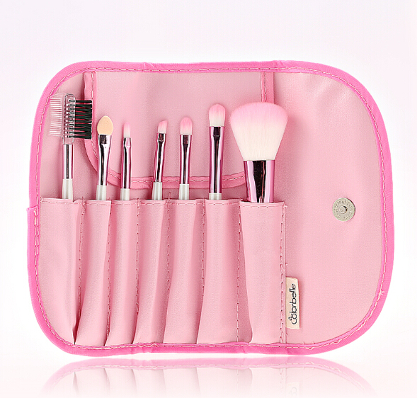 7 pc pink makeup brush small travel set beauty synthetic hair make up brush kit