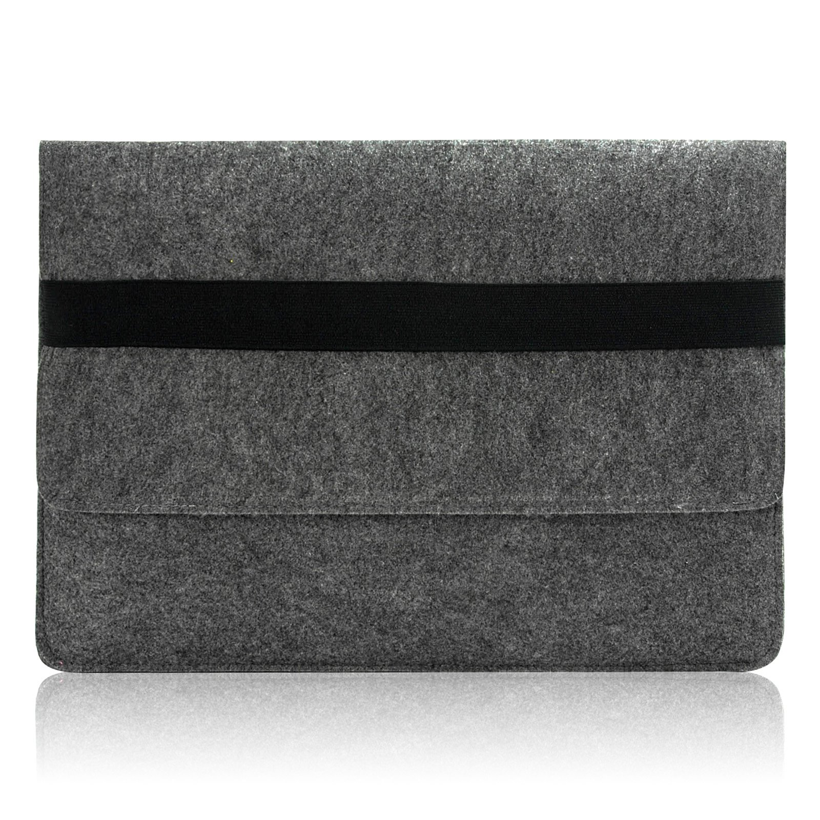 "Sinoguo Gray Felt Case Sleeve Pouch with 2 Pocket Inside for Macbook Air 11 Inch, Handmade Laptop Bag Holder Pouch with Black Elastic Band for 11"" Macbook Air and Most Popular 11-11.6 Inches Laptop / Notebook / Ultrabook /Netbook"